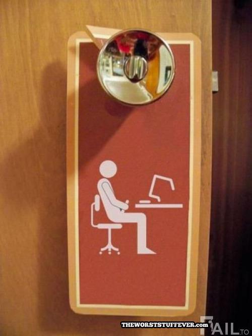worst do not disturb door sign ever, masturbating at computer, wtf