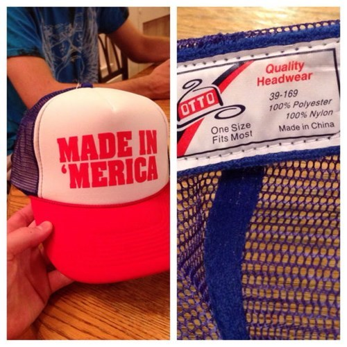 made in 'merica hat made in china, fail