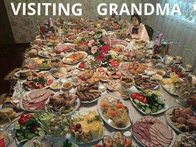 visiting grandma, too much food