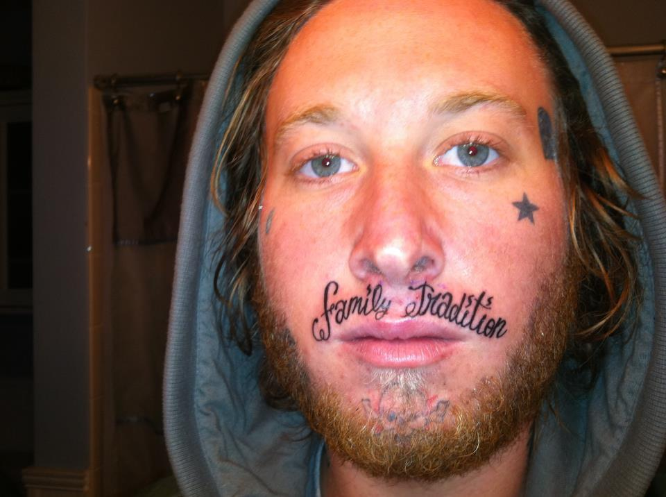 worst tattoo ever, family tradition on upper lip, wtf