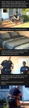 good guy cop, officer gaetano acerra responded to a call where a 13 year old boy didn't want to live in his home anymore, story