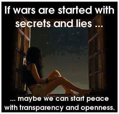 if wars are started with secrets and lies maybe we can start peace with transparency and openness, meme