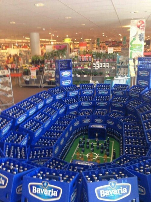 best beer display ever, stadium with cases of beer