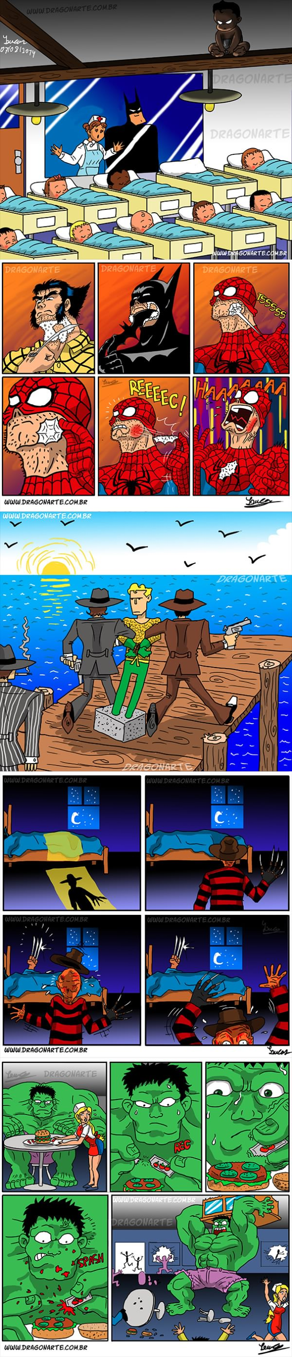 funny superhero jokes in comic form, lol, marvel, hulk, spiderman, wolverine, batman
