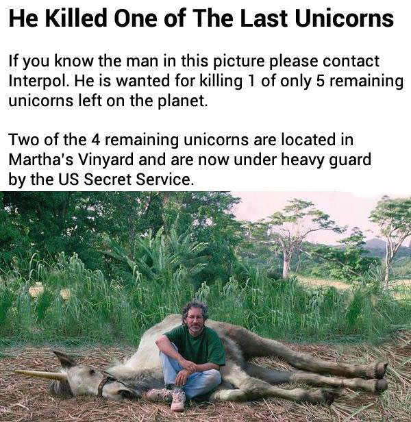 he killed one of the last unicorns, seems legit, stephen spielberg