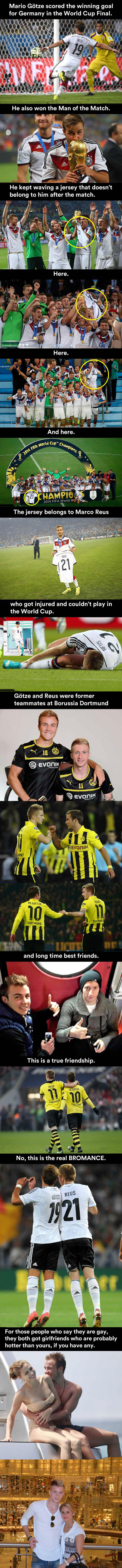 the biggest bromance in fifa soccer, world cup 2014, germany, mario gotze, marco reus