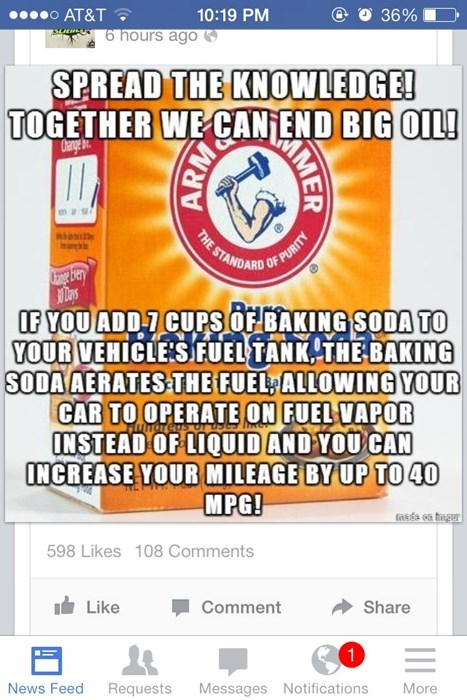 how many idiots are going to ruin their engines over this?, put baking soda in your fuel tank