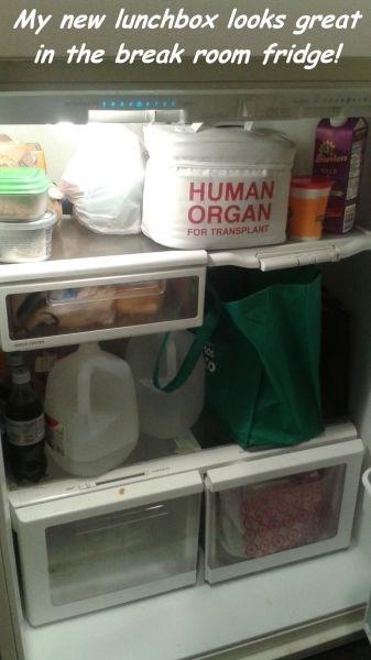 my new lunchbox looks great in the break room fridge