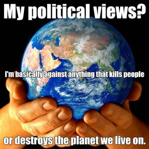 my political views?, i am basically against anything that kills people or destroys the planet we live on