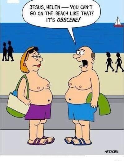 jesus helen you can't go on the beach like that! it's obscene!, double standards, topless, comic