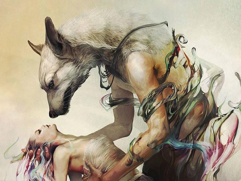 a wolf holding up a woman, art