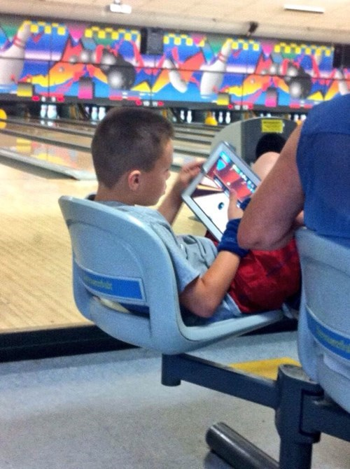 kids these days, bowling on an ipad at the bowling alley, wtf, lazy
