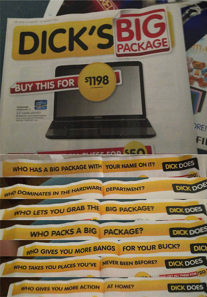 dick's big package, suggestive advertising