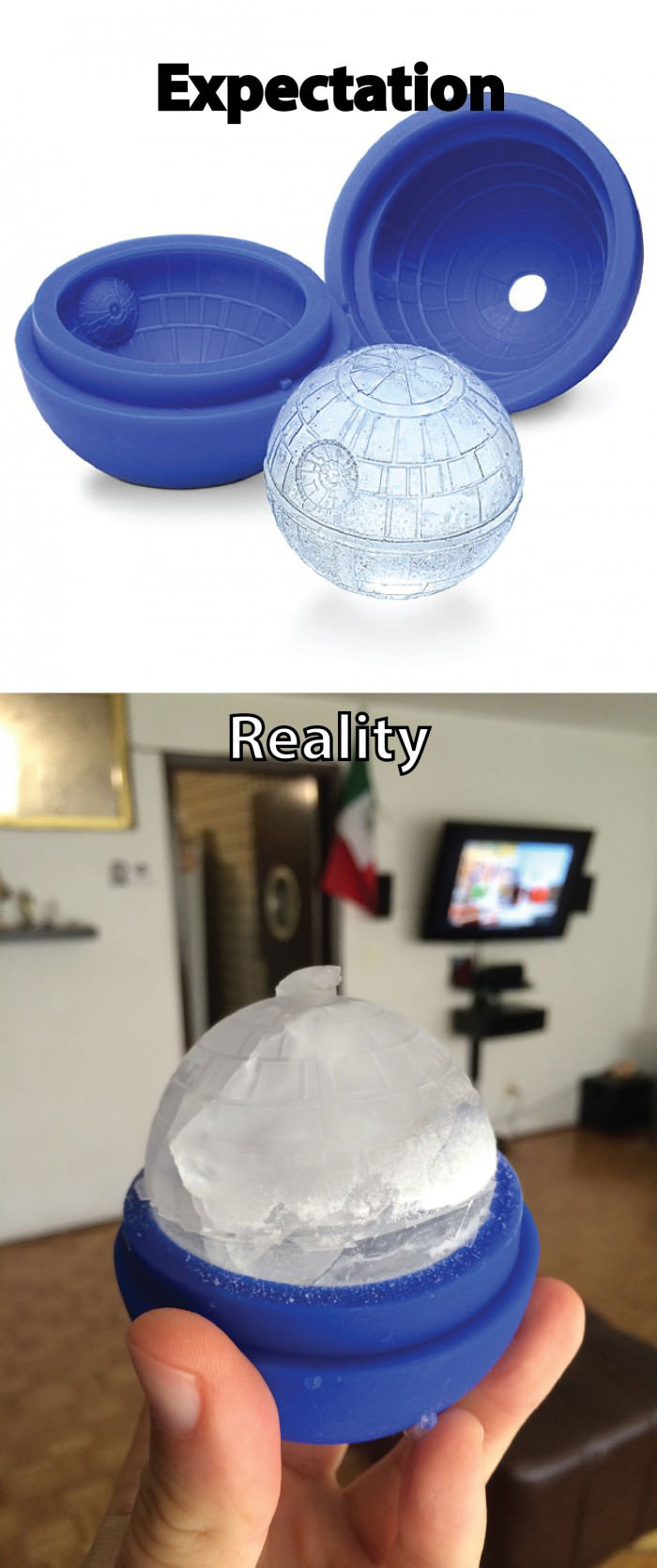 expectation, reality, death star ice cube tray, product