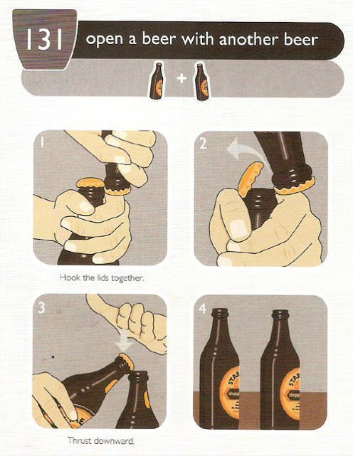 open a beer with another beer, life hack