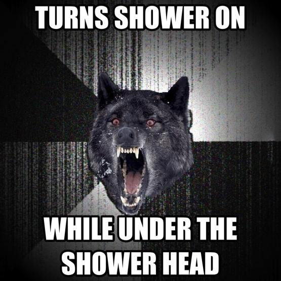 turns shower on while under the shower head, insanity wolf, meme