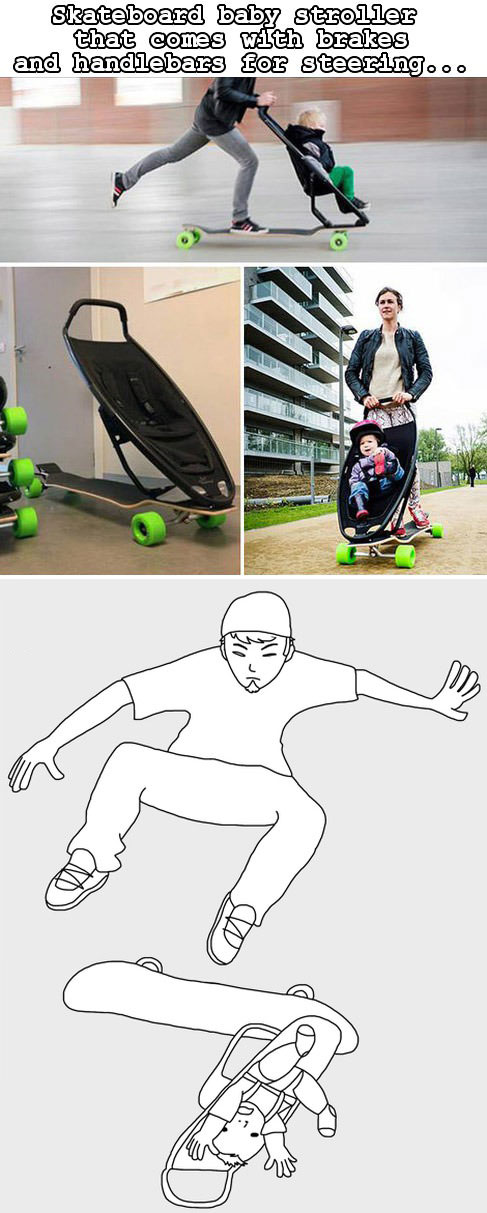 skateboard baby stroller that comes with brakes and handlebars for steering, product