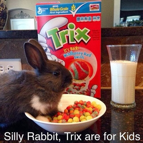silly rabbit trix are for kids, there's a hare in my cereal