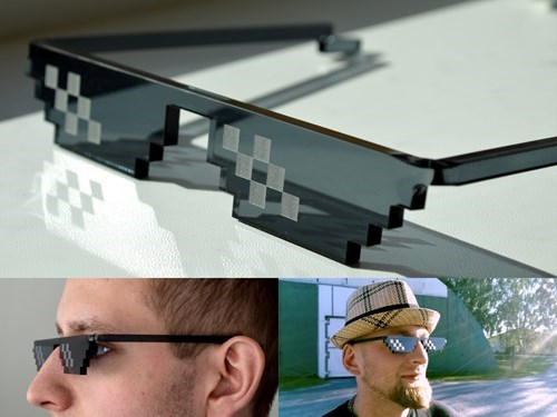 the ultimate hipster sunglasses, deal with it, pixelated irl, sun glasses, product, meme