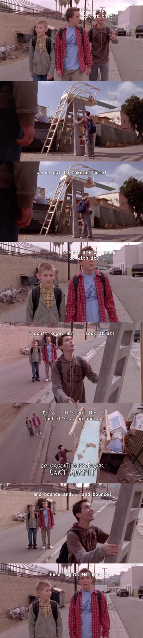 malcolm in the middle, the brothers find a raise diving board and have to have it