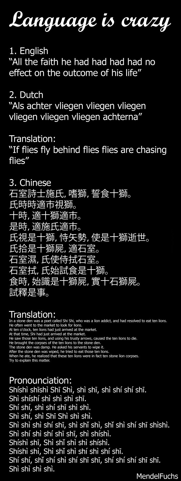 language is crazy, three examples of weird sentences in english, dutch and chinese