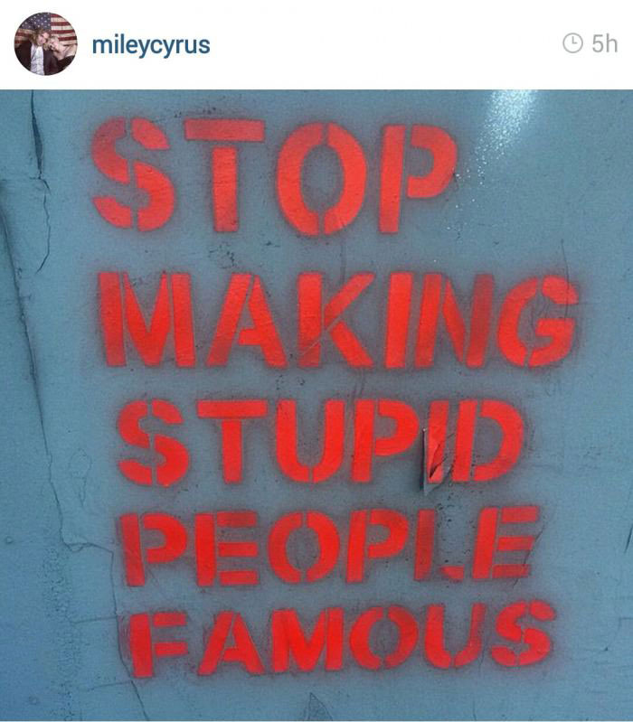 oh the irony, miley cyrus, stop making stupid people famous, twitter