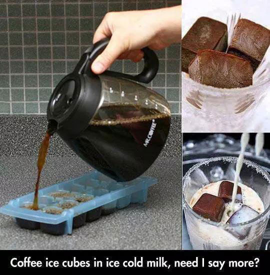 coffee ice cubes in ice cold milk, need i say more?, life hack