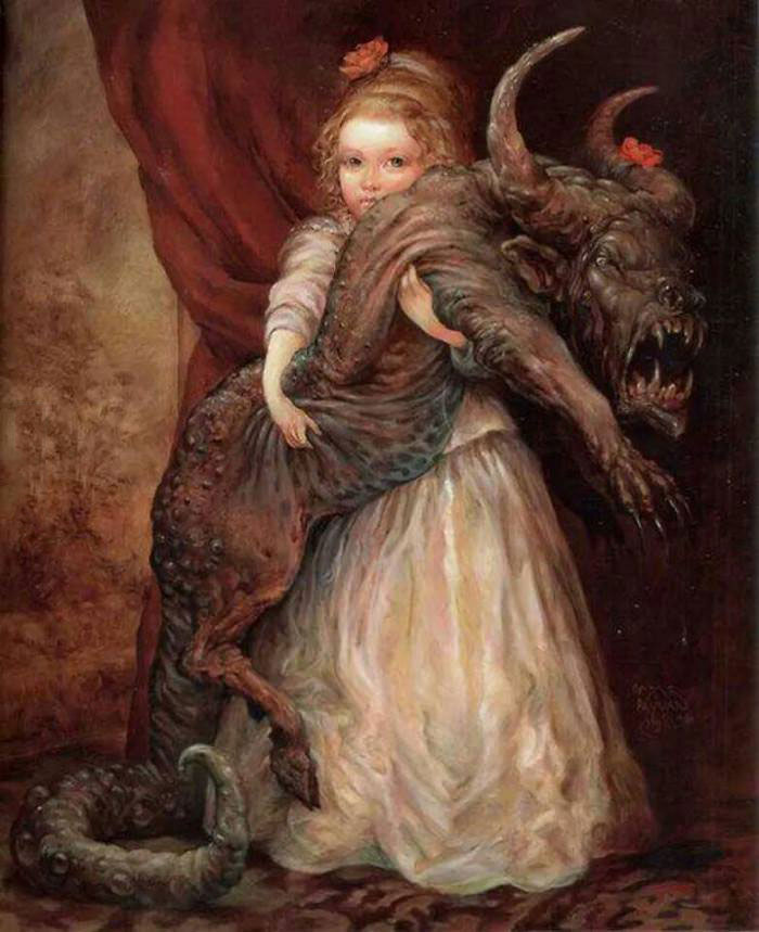 mommy can we keep it?, wtf, evil dog creature thing in old style painting