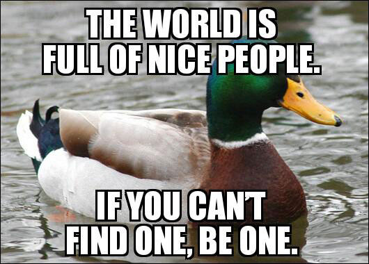 the world is full of nice people, if you can not find one be one, actual advice mallard, meme