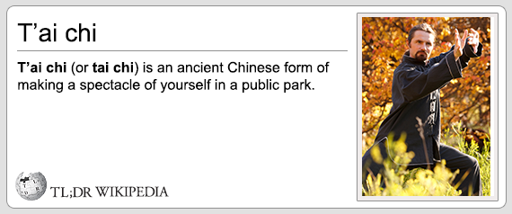 tai chi is an ancient chinese form of making a spectacle of yourself in a public park, tldr wikipedia