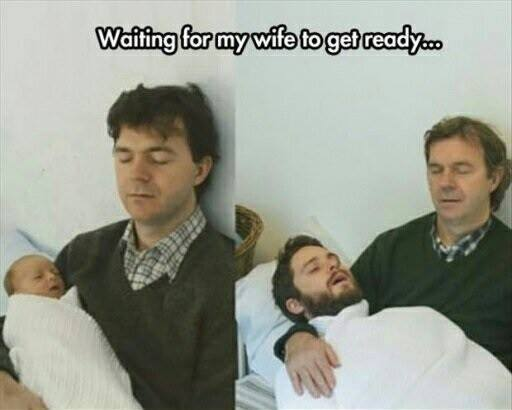 waiting for my wife to get ready, then and now, lol