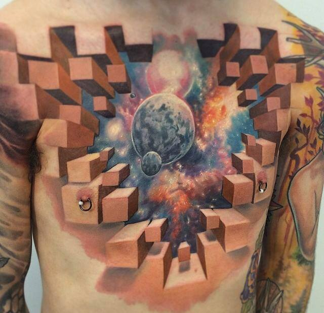 crazy 3d tattoo, cubes in space