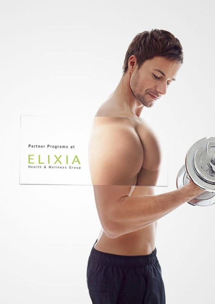 business card superimposed over a picture of a man working out, when you see it
