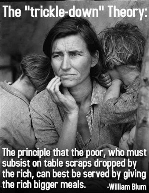 the trickle down theory, the principle that the poor who must subsist on table scraps dropped by the rich, can best be served by giving the rich bigger meals, william blum