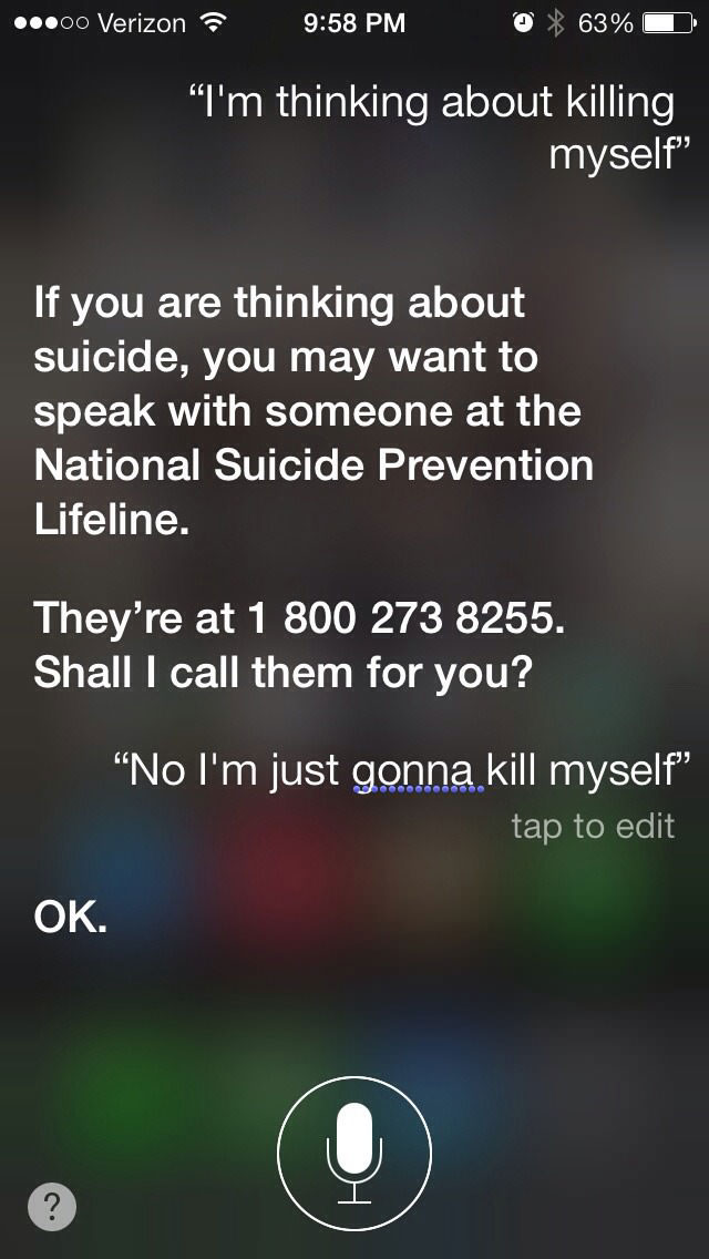 siri is not the best person to talk you down from suicide