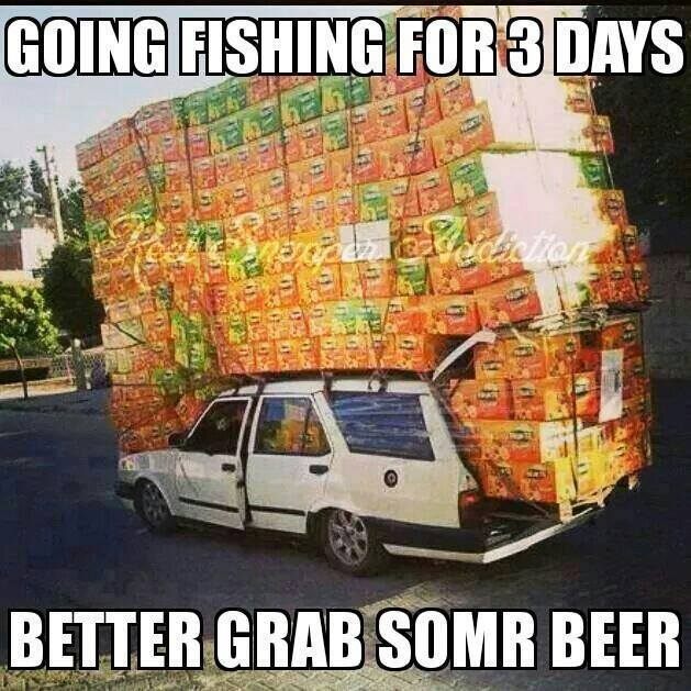 going fishing for three days better grab some beer, wtf, overloaded car, meme