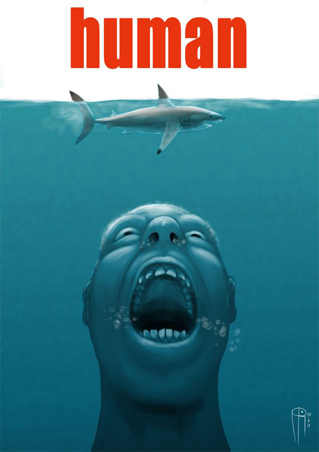 human, the real killer, parody of jaws movie poster