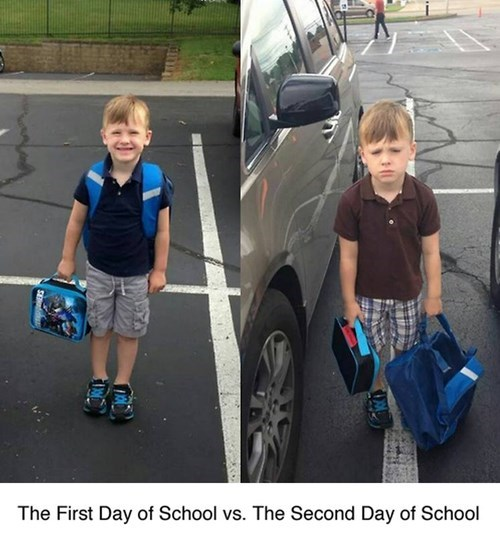 the first day of school versus the second day of school