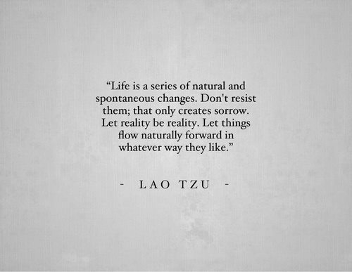 life is a series of natural and spontaneous changes, don't resist them, that only creates sorrow, let reality be reality, let things flow naturally forward in whatever way they like, lao tzu