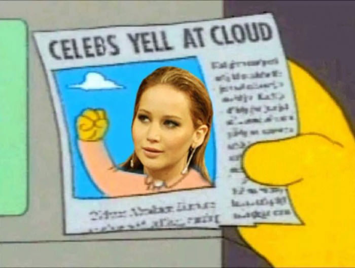 celebs yell at cloud, the simpsons predicted it, jennifer lawrence, nude leaks