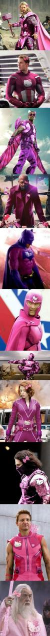 super kitty héros, marvel and dc superheros in hello kitty style suits, pink