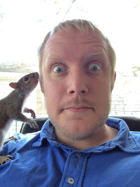 selfies are always better with a squirrel
