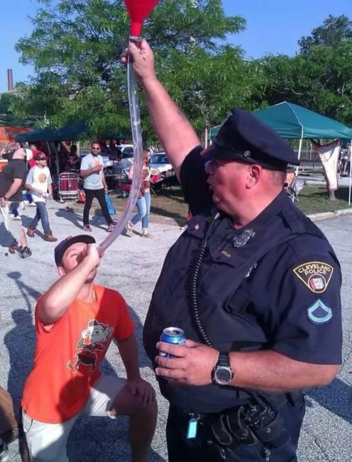 not all cops are bad people, beer bong