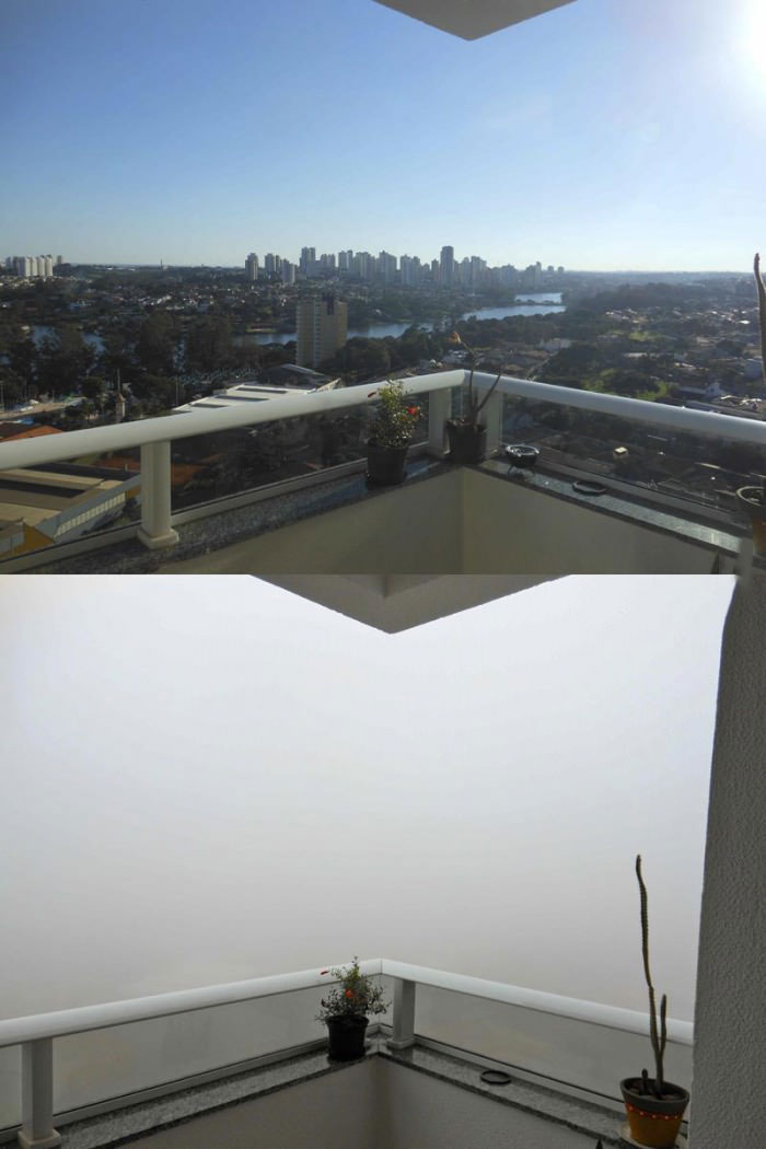 the view from my apartment with and without fog