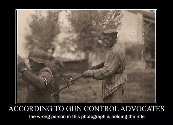 according to gun control advocates, the wrong person in this photograph is holding the rifle, motivation, prisoner and soldier