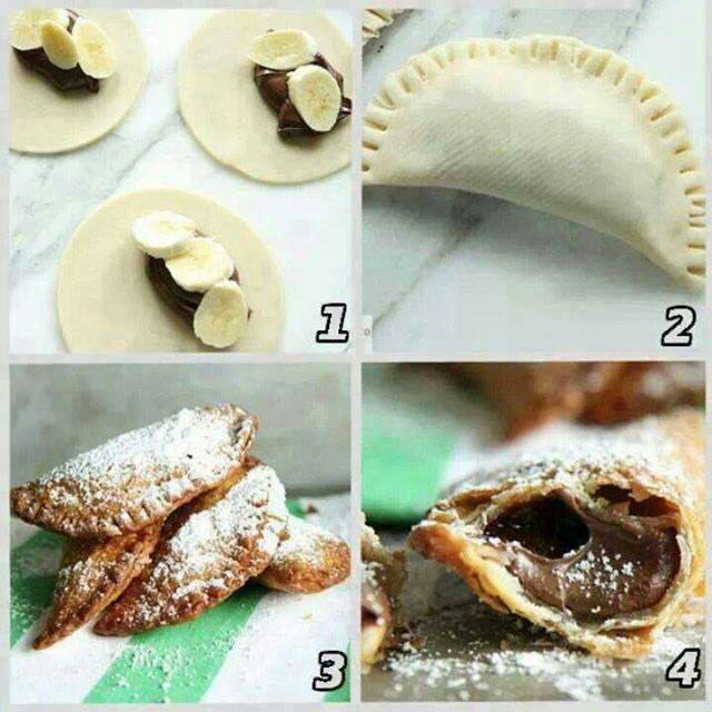 how to make nutella banana half crescent deserts in four easy steps