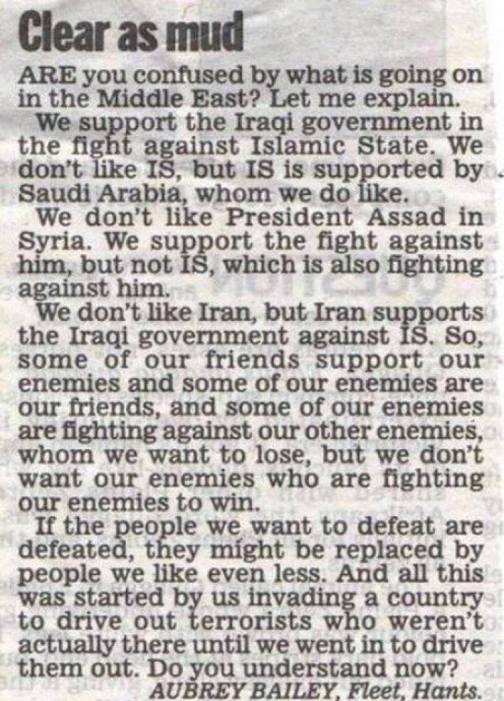 the situation in the middle east is clear as mud, short newspaper article, friends and enemies