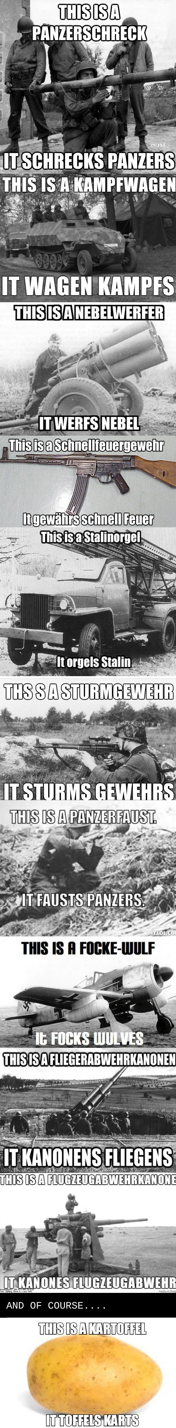 german names for things and what they mean, military equipment, meme