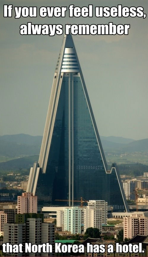 if you ever feel useless, always remember that north korea has a hotel, meme