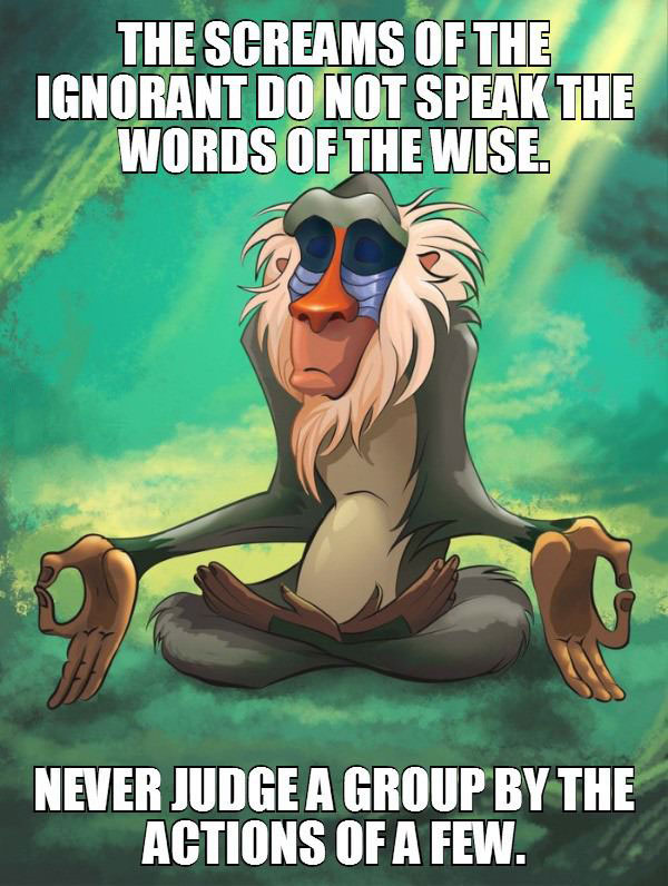 the screams of the innocent do not speak the words of the wise, never judge a group by the actions of a few, rafiki meditating meme
